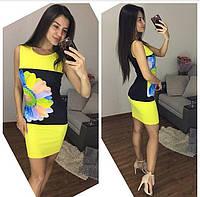 Летнее яркое женское платье с принтом (3 цвета)