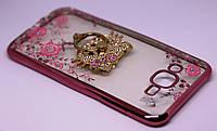 Чехол бампер Luxury Samsung J7 2015 / J700H / J700 / J700F Rose Gold с подставкой Ring