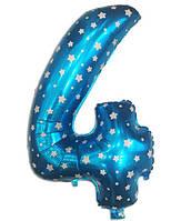 Цифра шар 4 фольгированный  голубой  со звездочками , 80х54  см.