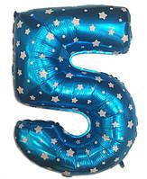 Цифра шар 5 фольгированный  голубой  со звездочками , 80х48  см.
