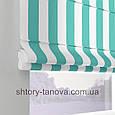 Римская штора с принтом в бело-голубую полоску 160x170 см, фото 3