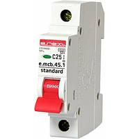 Модульный автоматический выключатель E.NEXT e.mcb.stand.45.1.C25, 1p, 25А, C, 4.5 кА