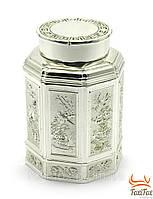 Баночка для чая с декоративной гравировкой металл