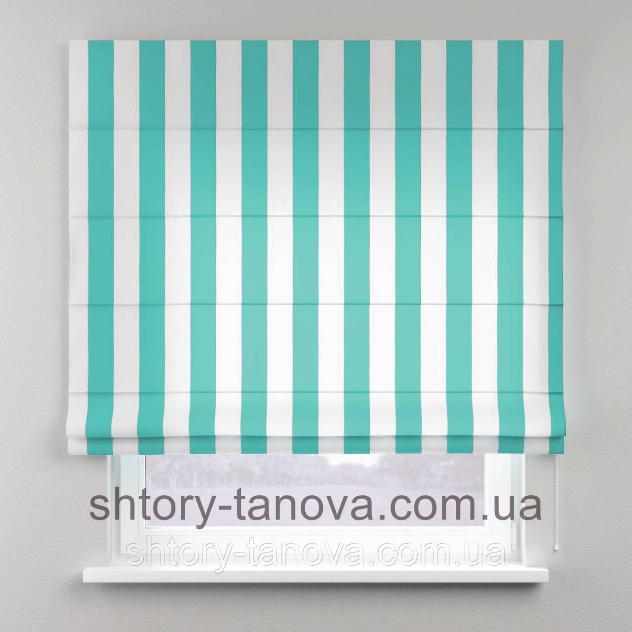 Римская штора с принтом в бело-голубую полоску 160x170 см