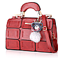 Красивая сумка женская красная с брелком Мишка код 3-296