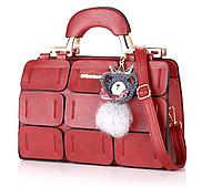 Красивая сумка женская красная с брелком Мишка код 3-296, фото 1