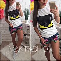 Женская Женская хлопковая стильная футболка с пайетками (3 цвета)