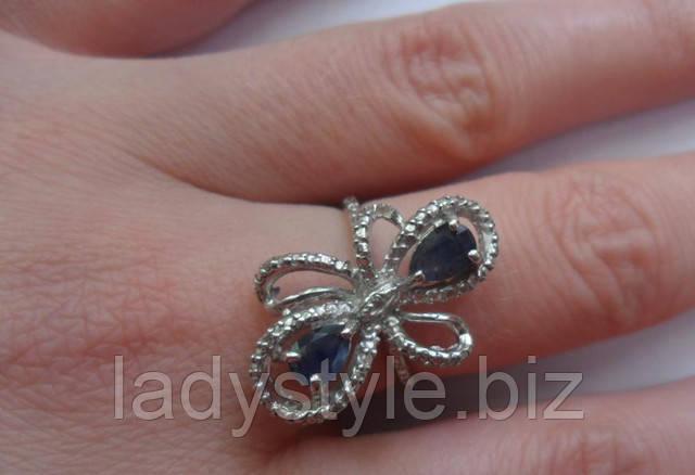 купить серебряное кольцо перстень с натуральными сапфирами