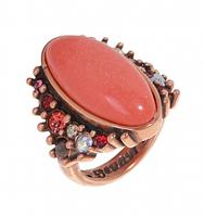 """Кольцо """"Аurа-Х"""" с кораллом, покрытое медью (j725u0c7)"""