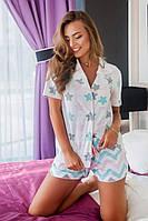 Пижама женская Рубашка на пуговках , шорты с резинкой в поясе.