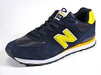Кроссовки синие мужские кожаные отделка нубук спортивные New Balance 574, фото 1