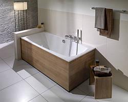 Установка акриловой ванны прямоугольной