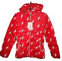 Куртка для девочки 26017 принт молнии с капюшоном на змейке (деми)