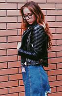 Женская черная куртка-косуха