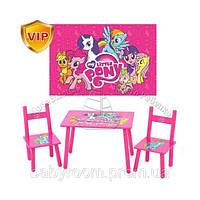 Детский столик M 1522 Розовый пони со стульчиками