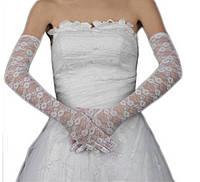 Перчатки кружевные белые, выше локтя 52 см, длинные