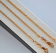 Комплект Xuping позолота 18к цепочка + браслет плетение веревочка.