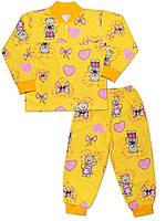 Утепленная детская пижама (кофта и брюки) (Желтый, мишки)