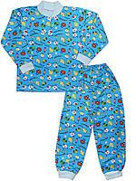 Утепленная детская пижама (кофта и брюки) (Голубой, праздник)