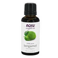 Масло бергамота эфирное, Organic Essential Oils, Bergamot, Now Foods, 30 мл