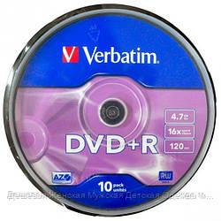 Диски DVD-R Verbatim 10 штук в пластиковой уп.