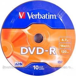 Диски DVD-R Verbatim 4,7Gb, 10 штук в пленке