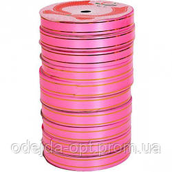 Лента с золотыми полосами 16мм*15м розовая, 5 штук