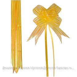 Бант из желтой органзы средний 3*48 см, 10 штук