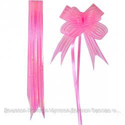 Бант из розовой органзы средний 3*48 см, 10 штук