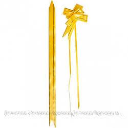 Бант из желтого полипропилена 2*32 см, 10 штук