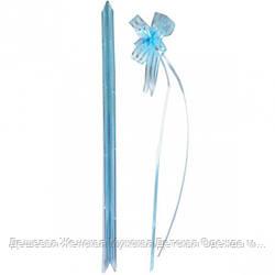 Бант из голубой органзы малый 1,8*36 см, 10 штук
