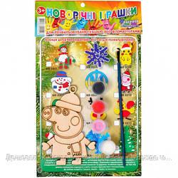 """Украшение-раскраска игрушка елочная """"Пеппа новогодняя"""" деревянная"""
