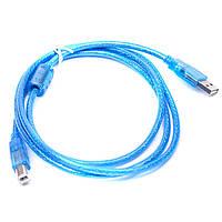 Кабель USB - USB Type B штекер для принтера с фильтром 1.5m синий