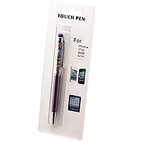 Стилус емкостный Touch Pen с авторучкой фиолетовый