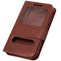 Чехол-книжка два окна 5.5″ T1 Case коричневый