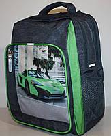 Школьный рюкзак Bagland серо-салатовый Sport Car