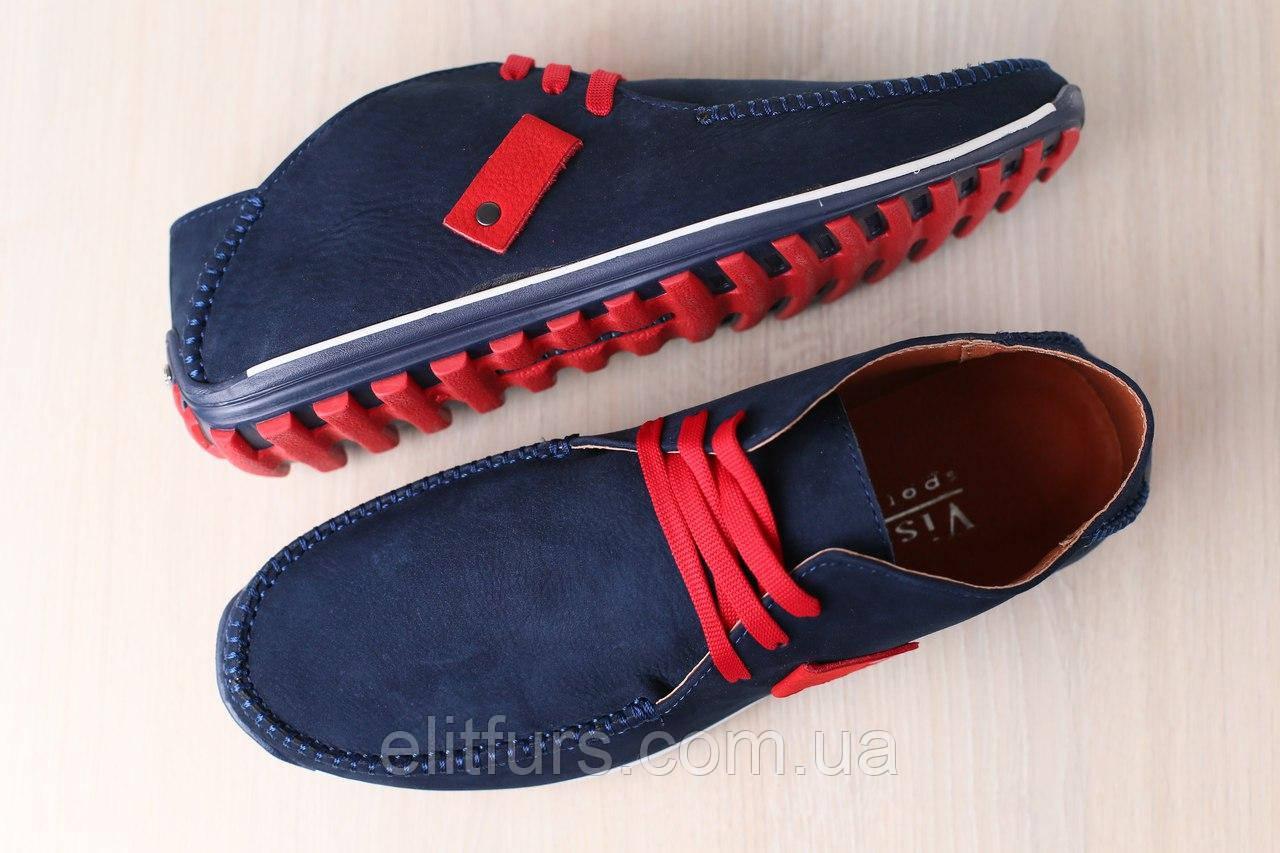 Мужские мокасины, синие, из натурального нубука, с вставками красного цвета, на шнурках