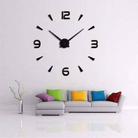 3D-Часы настенные большие с арабскими цифрами тип 3 (диаметр 1 м) черные [Пластик]