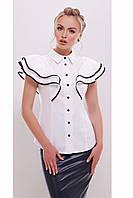 Белая женская блузка с воланами на плечах, хлопок, приталенная, размер 44, 46, 48