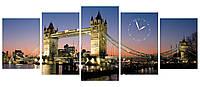 """Модульные настенные часы картина """"Тауэрский мост"""" пять мдулей большие 150х60см"""