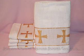 Полотенце для крещения Крыжма 70х140 Велюр, махра белая