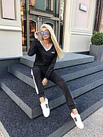Спортивный черный женский костюм с лампасами В20939, фото 1