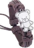 Кожаный браслет Мишка