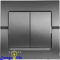 Выключатель Lezard DERIY двойной темно-серый металлик, 702-2929-101