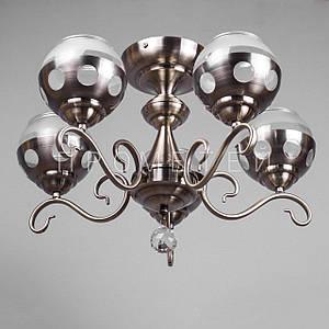 Люстра на 5 лампочек (античная бронза). P3-26333/5/AB+WT