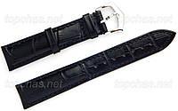 Ремешок Slava (Слава) 24 мм для наручных часов, натуральная кожа, черный, строчка