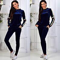 Женский спортивный костюм, бархат класса люкс, р-р  42-44; 44-46; 46-48 (тёмно-синий)