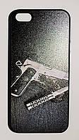 Чехол на Айфон 5/5s/SE White Knights рифленый Пластик Пистолет и Нож Черный, фото 1