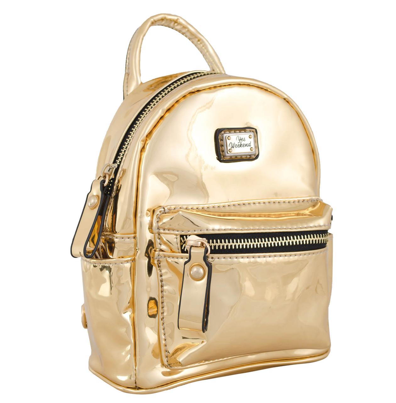 9fc420f8bc93 Женская сумка-рюкзак из экокожи 1 ВЕРЕСНЯ, Mirorr gold 3 л - SUPERSUMKA  интернет