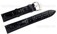 Ремешок Slava (Слава) 18 мм для наручных часов, натуральная кожа, черный, строчка